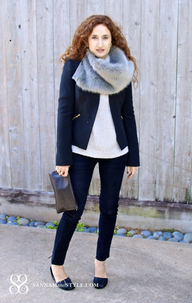 Banana Republic faux fur scarf black and gray chic outfit street style houston fashion blogger Pony Hair shoes black gap skinnies black ann taylor clutch zippered jacket
