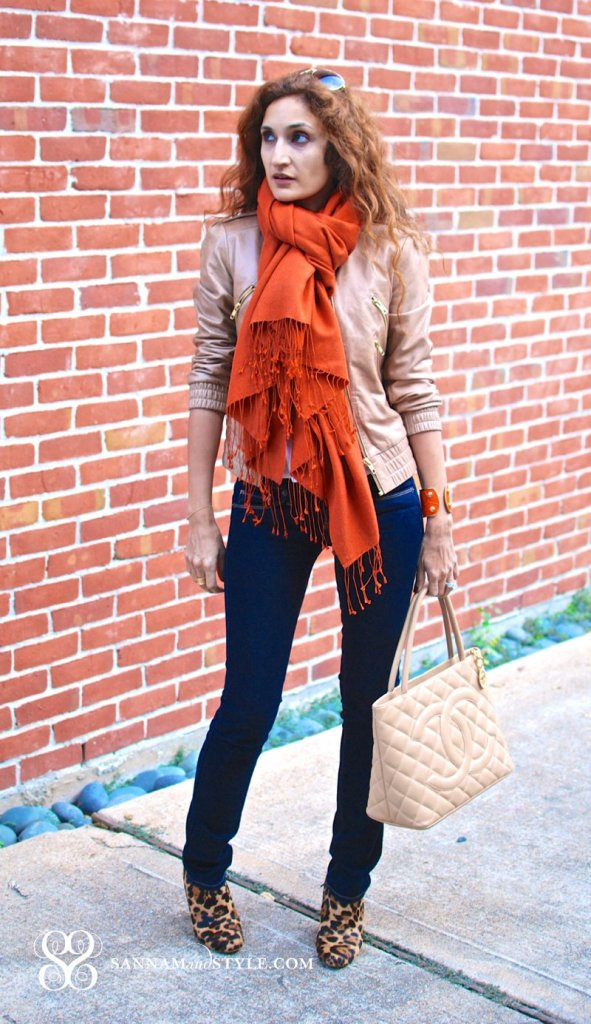 orange big scarf chanel camel medallion bag chanel tote american eagle jeans alice and olivia zippered jacket taylor and tessier cuff
