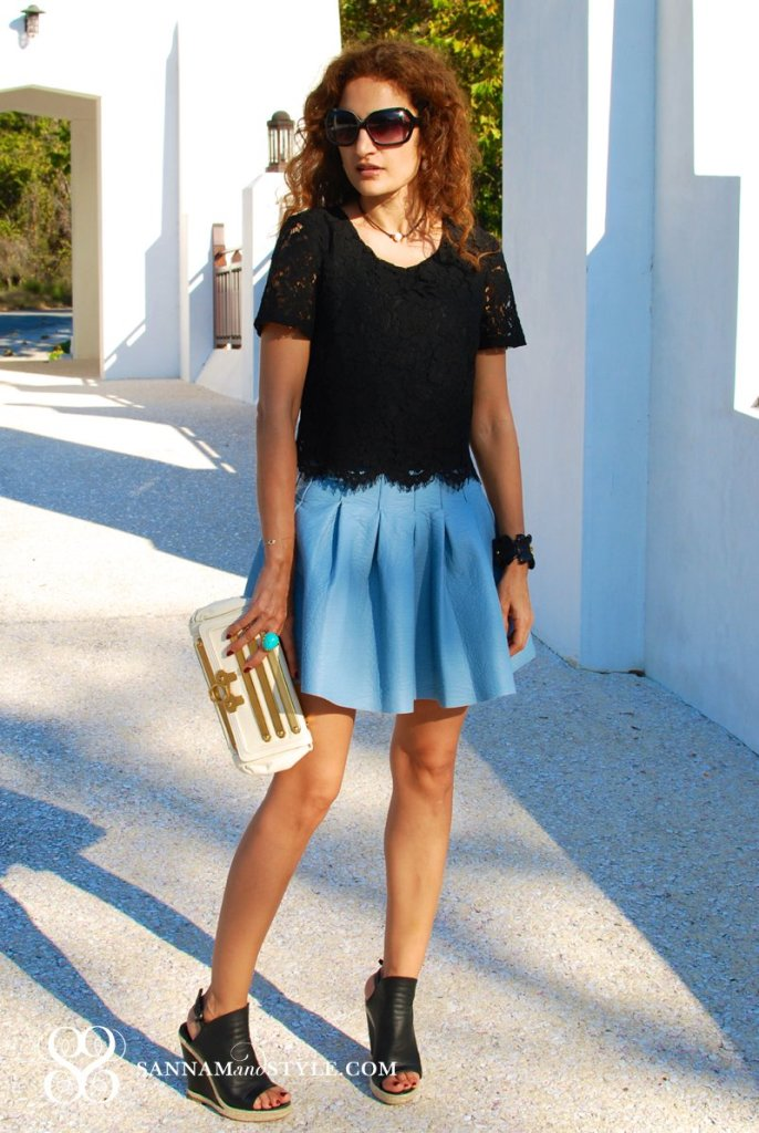 Balenciaga Glove wedges black and blue outfit baby blue faux leather skirt cat eye sunnies zag posen clutch rosemary beach fashion blogger