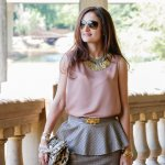 Earthy Tones: Peplum Mini Leather & Touches of Gold