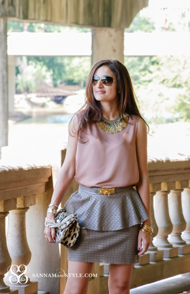 zara top leopard valentino bag pony hair bag chic peplum skirt leather skirt chic casual look fun outfit for brunch houston fashion blogger