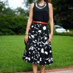 BR Midi Skirt: Pegasus & Splashes of Red