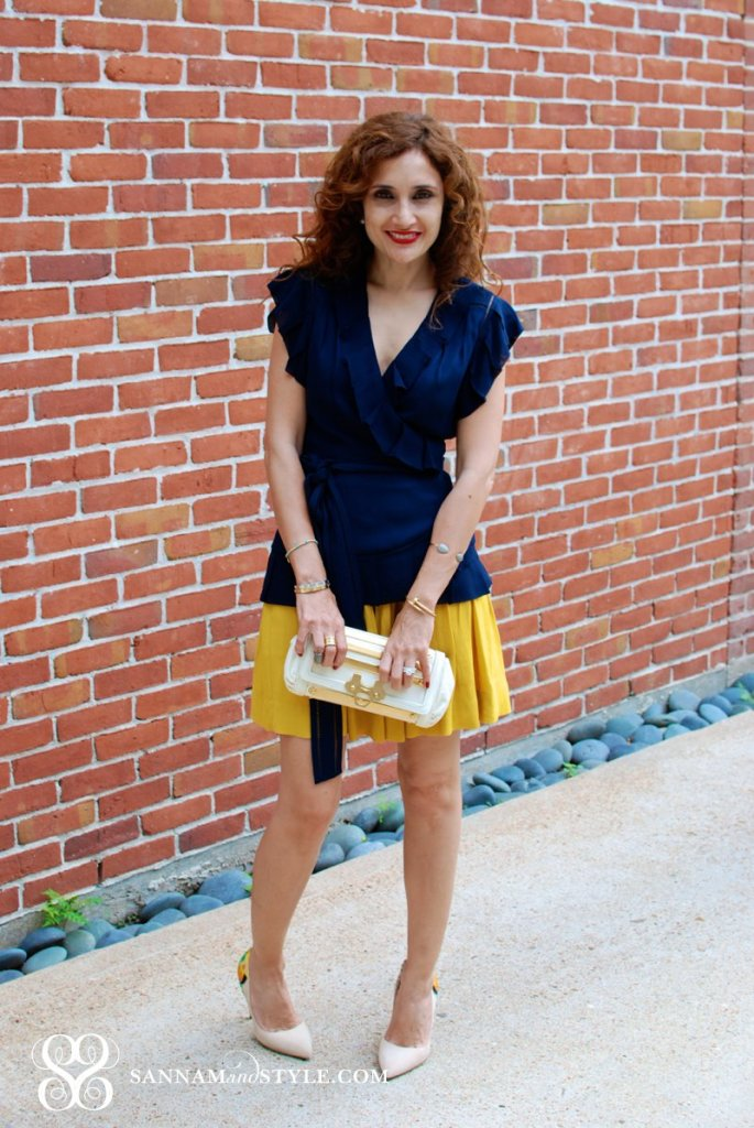 thenewbr banana republic marigold skirt color blocking date night outfit brunch outfit curly hair marissa webb and the new banana republic houston fashion blogger