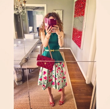 floral skirt midi skirt red chanel bag peplum trend brunch outfit ideas