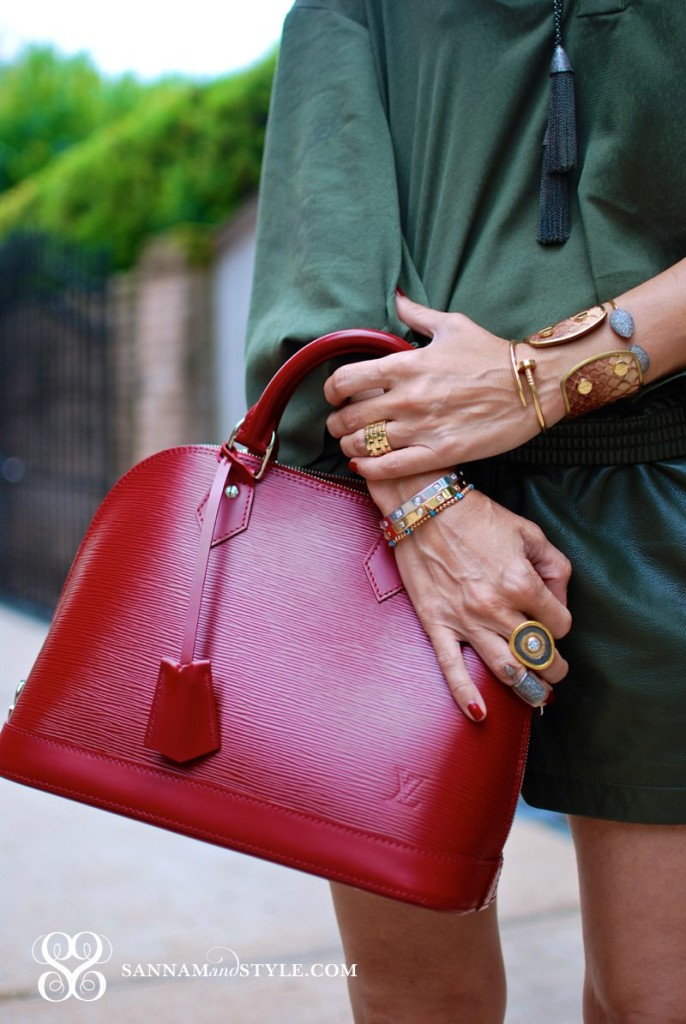 banana republic olive leather shorts louis vuitton epi leather red rubis alma bag banana republic drapey popover olive green top houston blogger