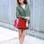 Olive Mania:  Leather Shorts &  LV Alma Rubis Pop of Red