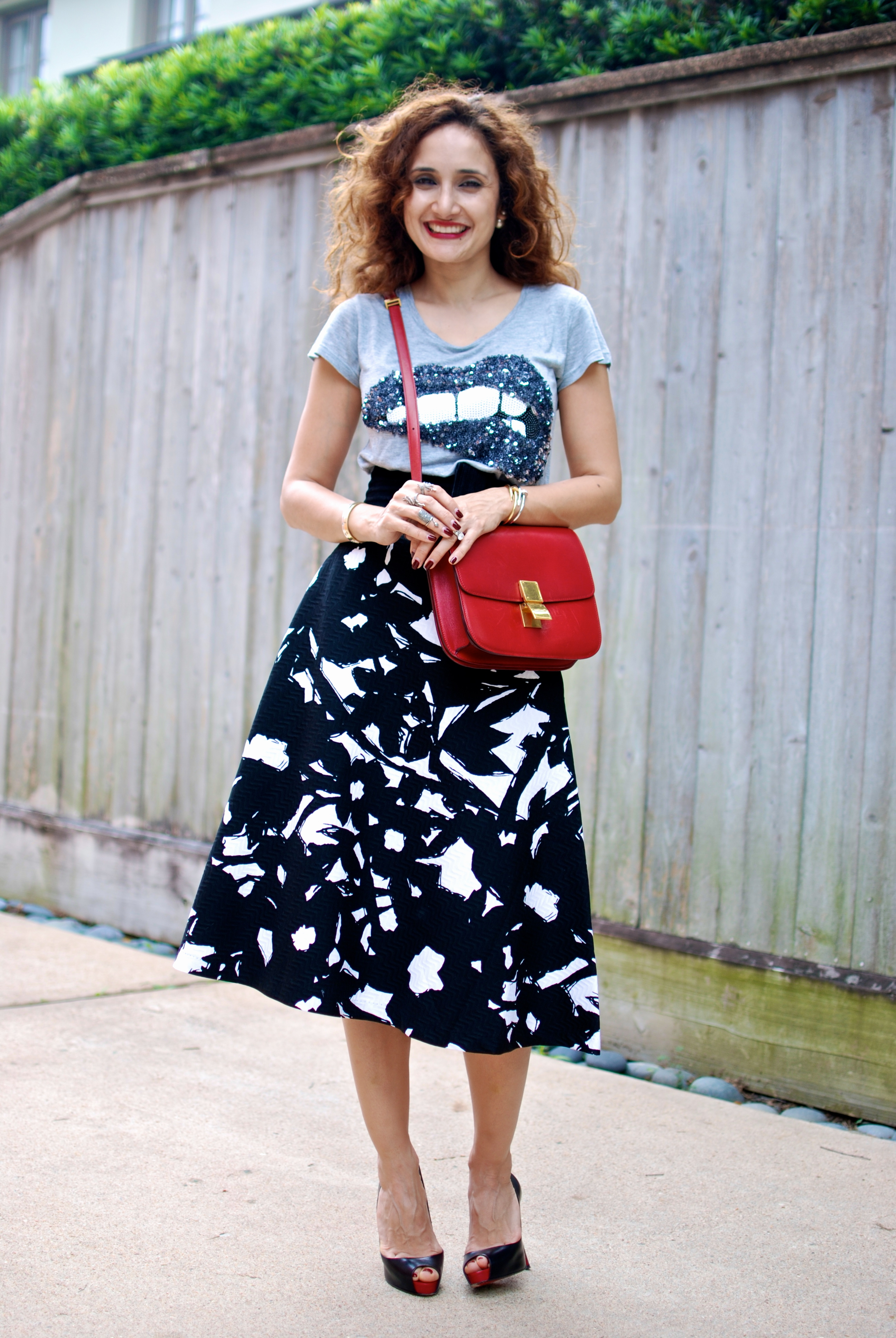 Midi Skirt Restyle Sequin Lips Amp Louboutinssannam And