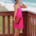 Beach Style – Fuchsia Eyelet dress & Red Céline