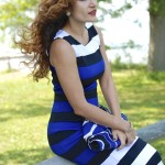 Cobalt Blue, Black & White Stripes