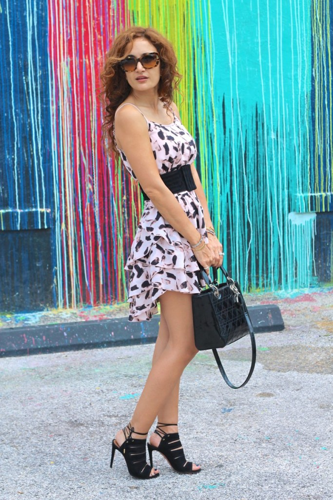 the newBR printed ruffled dress blush pink dress Lady Dior bag bl;ack patent bag pink and black outfit houston fashion blogger petite blogger OOTD street style lady dior bag