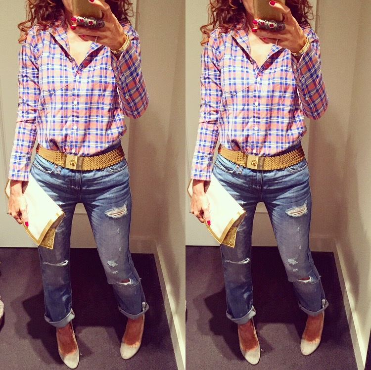 j crew plaid boy shirt broken in boyfriend jeans coinage gold belt bottega clutch gray suede wedges christian louboutin wedges casual chic look cali cool look downtown cool relaxed casual look houston fashion blogger