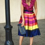 Bold Stripes Midi Skirt & Pops of Fuchsia