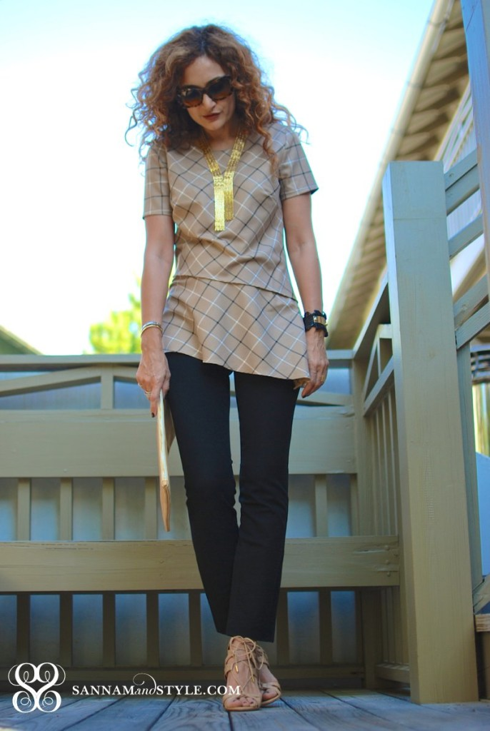 asymmetrical top anthropology dress over pants trend long gold tie necklace aquazzura shoes talor tessier cuff chic beach style houston fashion blogger