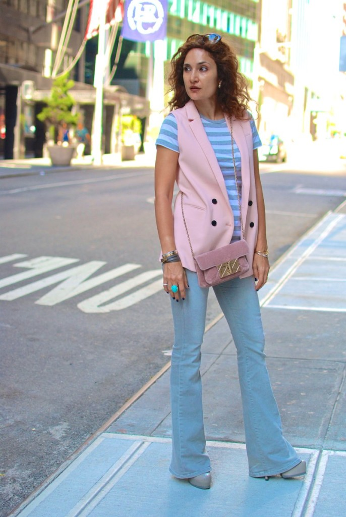 banana republic double breasted vest sleeveless blazer the new br blush pink vest how to wear flares for fall chanel velvet cross body bag striped t shirt how to dress for nyc trip casually nyc blogger