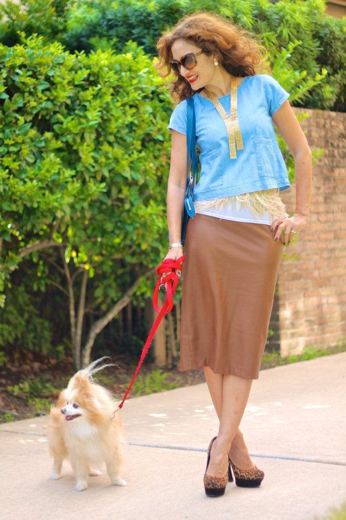 feather belt anthropologie chic leather pencil skirt fall trends how to wear feather belt jyoit kapoor jewelry tie gold necklace sannama nd style houston fashion blogger louis vuitton blue eli bag LV bag crop top styled leopard heels date night outfit