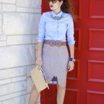 Feminine Masculine Mix:  Metallic Tweed Skirt & Button Down