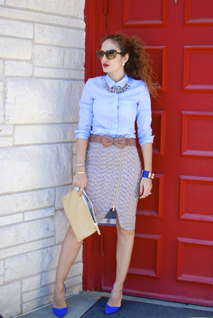 j crew metallic tweed skirt pencil skirt burberry belt stella and dot kahlo necklace stelladotstyle clare vizier clutch manolo blahnik suede dorsay pumps bb pump dior tribal earrings hermes collier de chien cuffe houston blogger borrowed from the boys