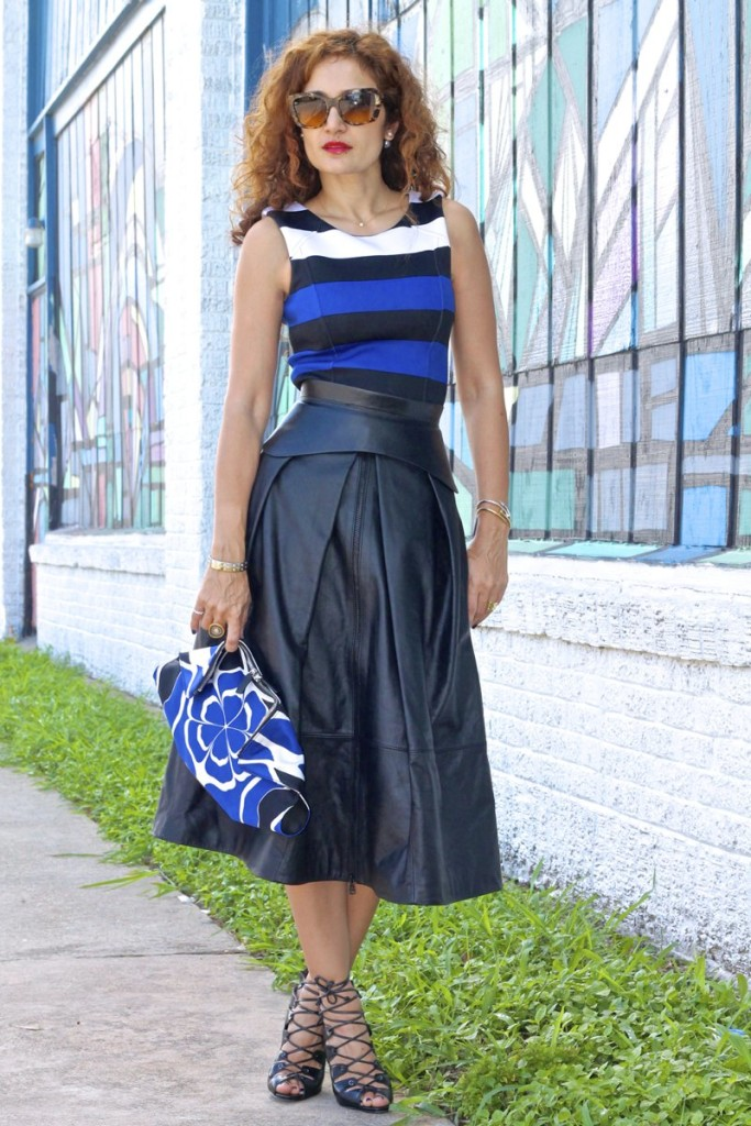 striped dress cobalt blue dress tibia leather midi skirt alexander mcqueen de manta clutch corset belt bcbg belt schutz lace up shoes dior double pearl earrings tribal earrings black and blue outfit houston fashion blogger