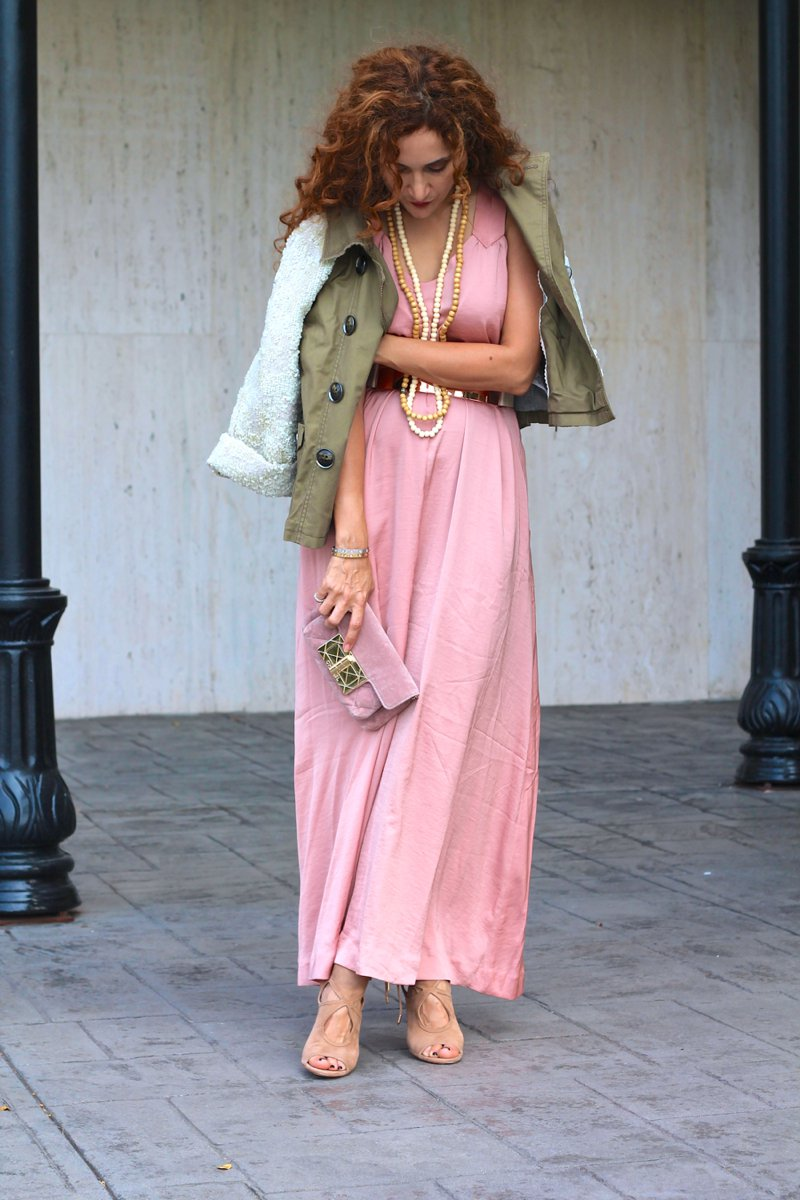 Army Green Sequins & Flowing Pink MaxiSannam and Style ...