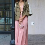 Army Green Sequins & Flowing Pink Maxi