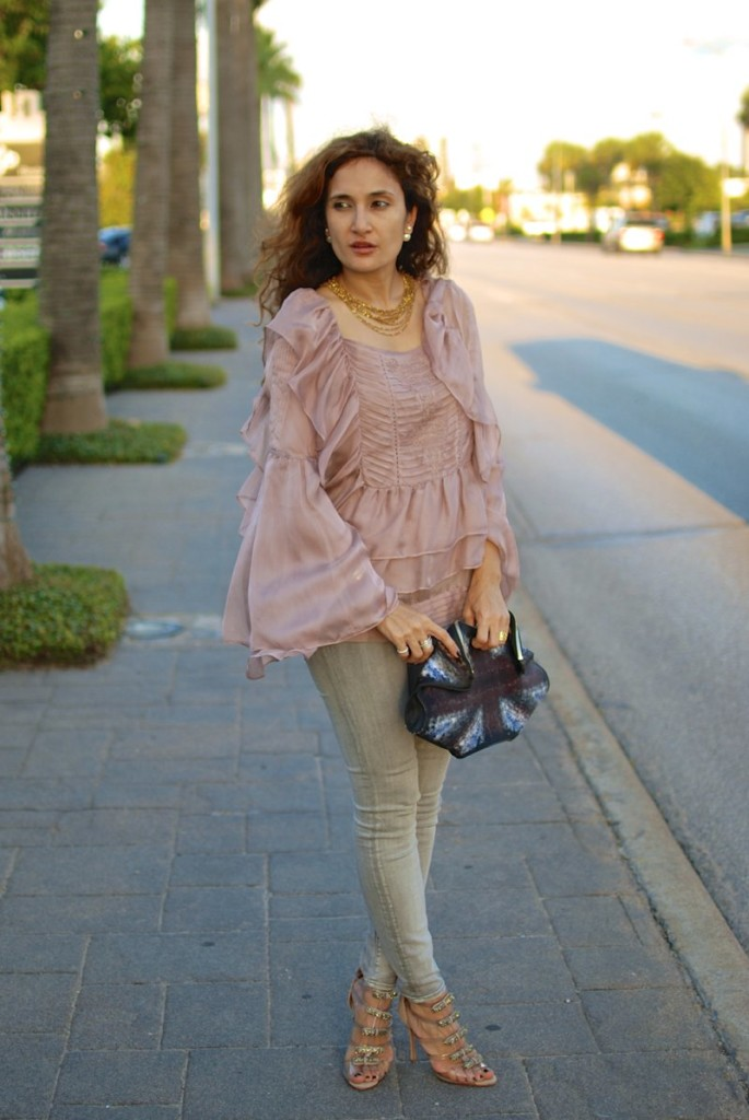 alexander mcqueen union jack clutch romantic pink ruffles date night outfit ideas pink and gray outfit how to wear pink like an adult girly feminine outfit jyoti kapoor jewelry chic outfit schutz stripy shoes