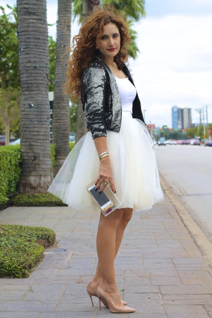 chic tulle skirt look how to wear tulle skirt anthropologie tulle skirt sequin jacket cartier bracelets louboutin nude so kate pumps clear clutch sarah jessica parker moment gurhan ring birthday outfit ideas houston fASHION blogger street style