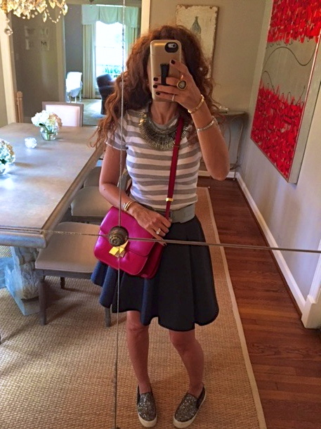 striped t gray flannel skirt red celine bag pegasus necklace stella and dot bib necklace sparkly sneakers