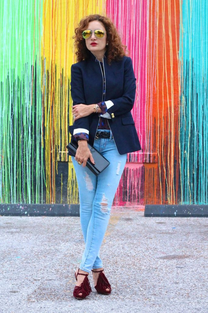 regent blazer j crew borrowed from the boys how to make navy blazer chic satin lapel houston fashion blogger leopard shirt louboutin fringe shoes distressed denim