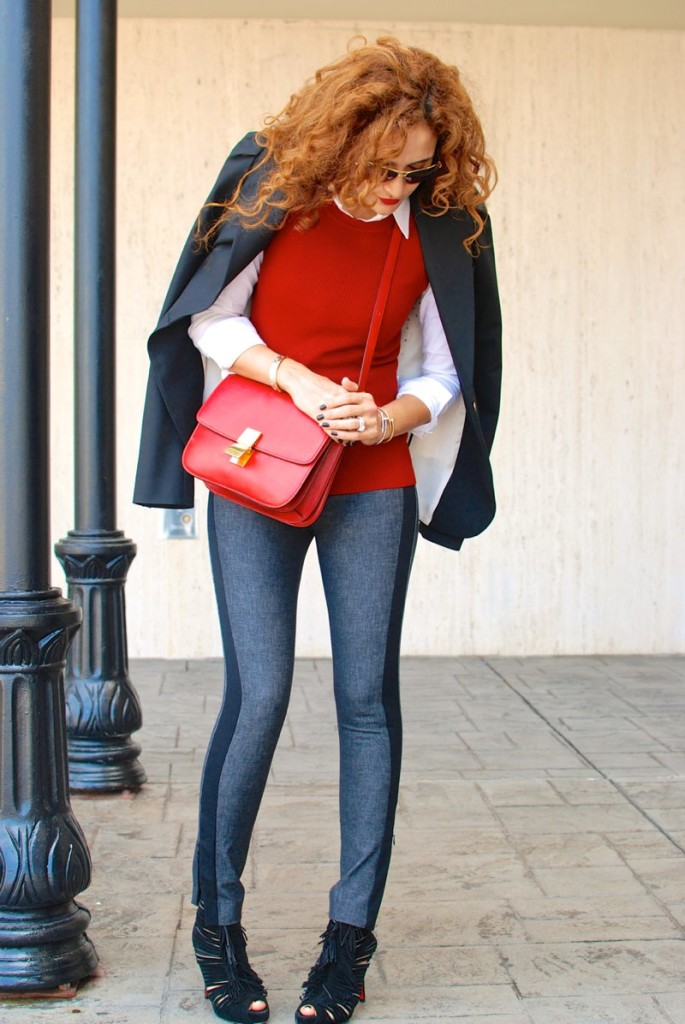 banana style tux stripe sloan pants black denim red and black outfit houston fashion blogger red celine bag black blazer louboutins fringe bootie