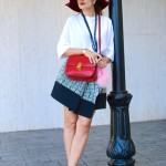 Jacquard Asymmetrical Skirt, Floppy Hat & Flats