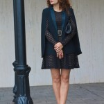 Holiday Party Time:  Black Cape and Black Dress