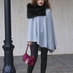 Keeping Warm:  Gray Cashmere Poncho & Leather Pants