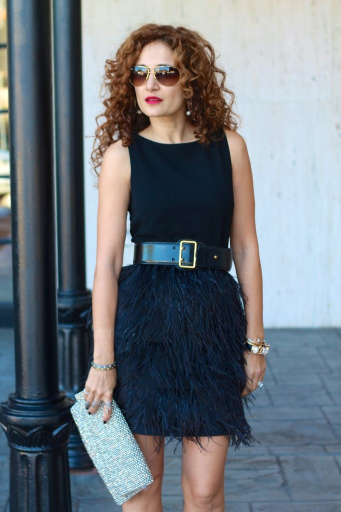 holiday party dress new years eve dress black ostrich feather dress chic little black dress club