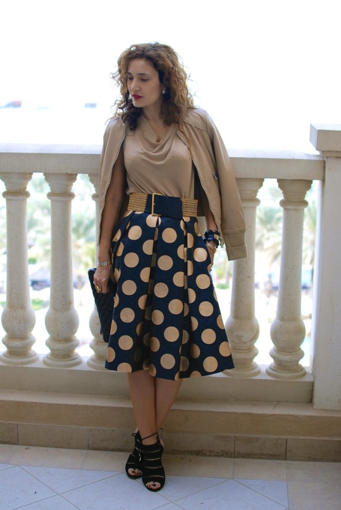 polka dot midi skirt full skirt metallic prada belt aquazzura so sexy shoes dubai blogger vacation chic fashion pinko jacket houston blogger what to wear to dubai