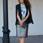 Chic and Casual Mix:  Cape & Pencil Skirt