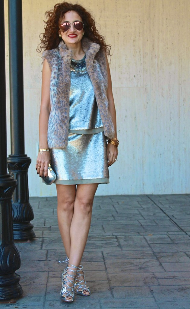 strapless sequin dress its banana schutz booties what to wear for valentines day leopard fur vest gray outfit textures outfit chic date night outfit what to wear for valentines day date houston fashion blogger banana republic style