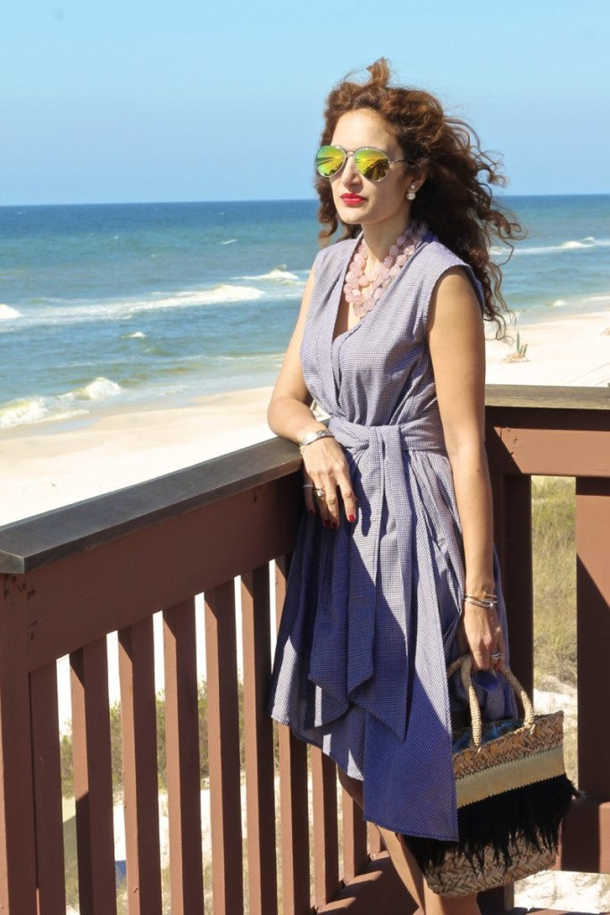 gingham dress shop bop chic style for beach vacay style petite blogger curly hair what to wear to a beach vacation 30ablogger rosemary beach blogger chic style