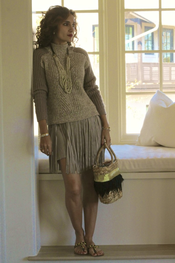 beach style what to wear for a beach vacation spring fringe trend chic beach wear resort wear taupe fringe skirt monochromatic outfit fun and flirty outfit