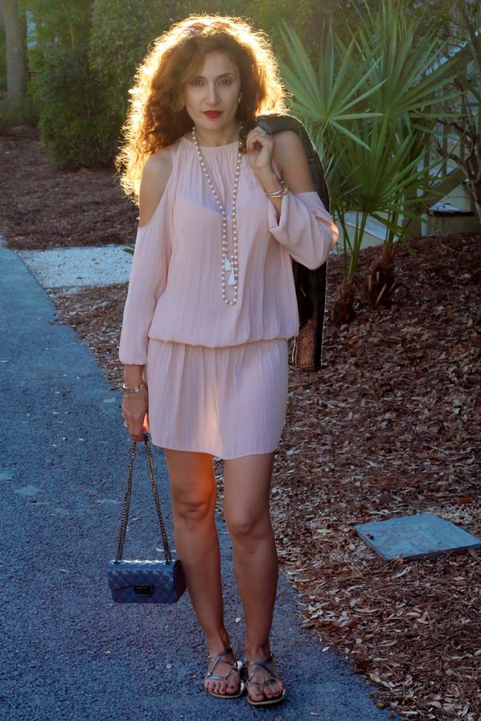 chaan luu pearl tassel necklace chic beach resort wear what to wear to a beach vacation pink and gray outfit army brook its banana gray jacquard moto jacket