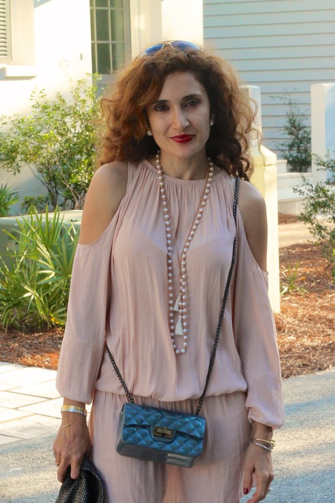 Chaan Lu Long Dandling necklce should less dress spring trend blush pink dress the cold shoulder shop bop dress chic beach style pink and grey outfit houston blogger what to wear to rosemary beach