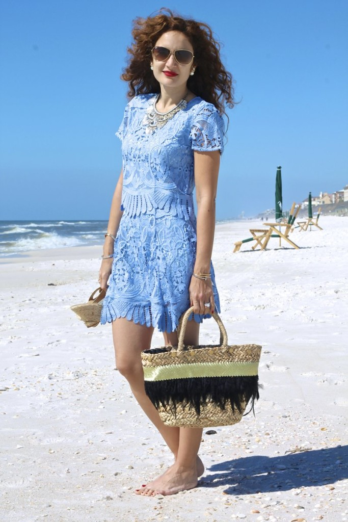 blue lace top and skirt lovers and friends on shop bop shopbop sale how to wear a matching top and bottom rosemary beach style what to wear to rosemary beach 30a style ootd fashionblogger