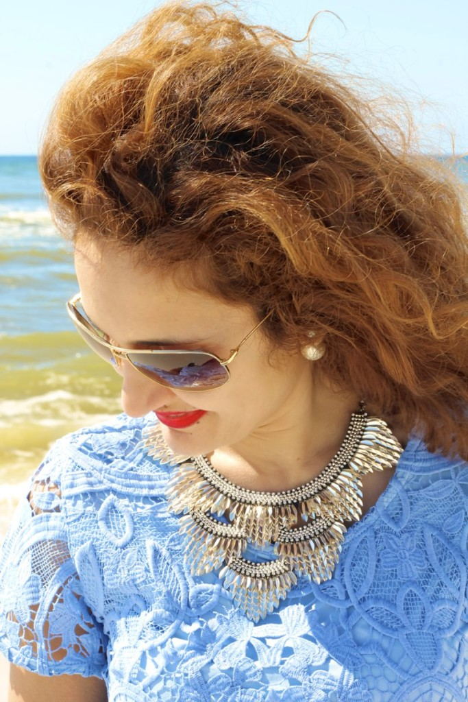 similar to pegasus necklace by stella and dot silver feather necklace blue lace top and skirt lovers and friends on shop bop shopbop sale how to wear a matching top and bottom rosemary beach style what to wear to rosemary beach 30a style ootd fashionblogger