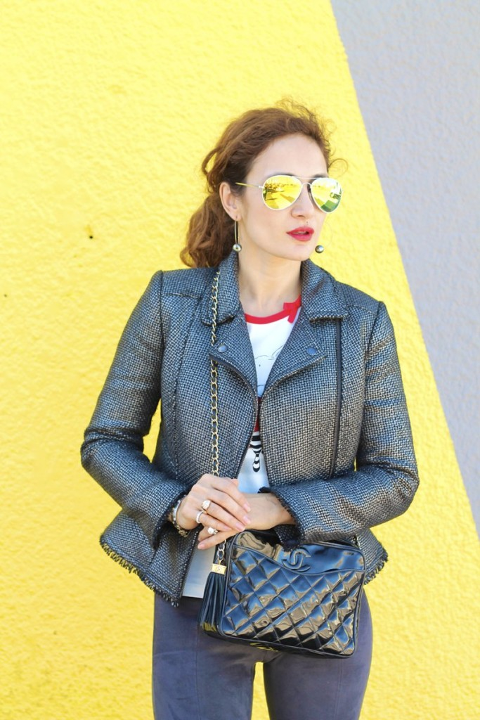 gray moto jacket black patent chanel bag vintage chanel cool casual outfit shades of gray outfit houston fashion blogger