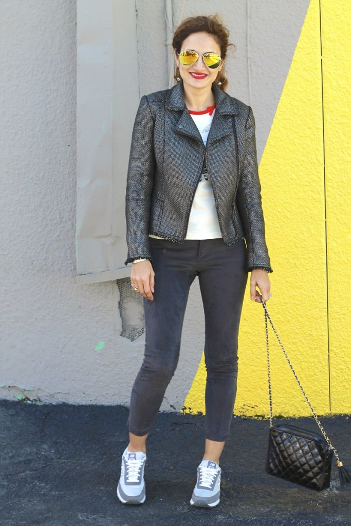 how to wear sneakers in a casual chic outfit what to wear on vacation sight seeing gray on gray outfit houston fashion blogger its banana gunmetal jacquard moto jacket vintage chanel