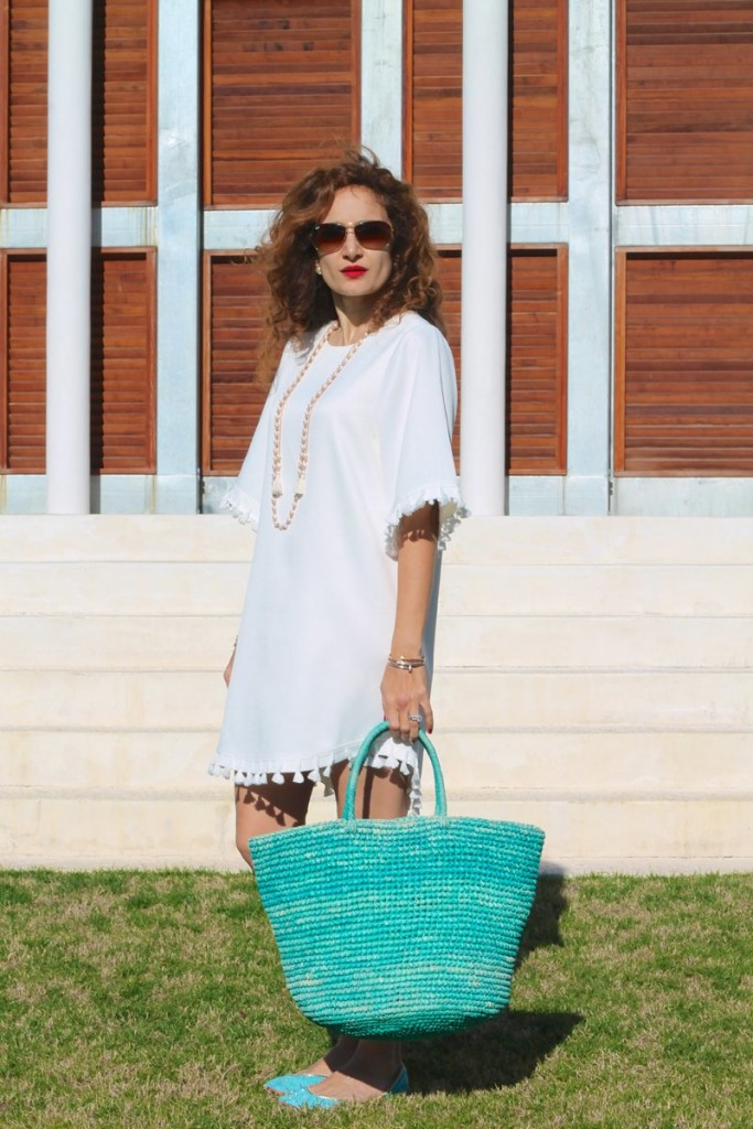 white dress beach dress vacay outfit rosemary beach blue straw bag what to wear to rosemary beach 30blogger flogger petite curls
