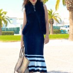 Spring Stripes:  Maxi Dress & Sleeveless Shearling