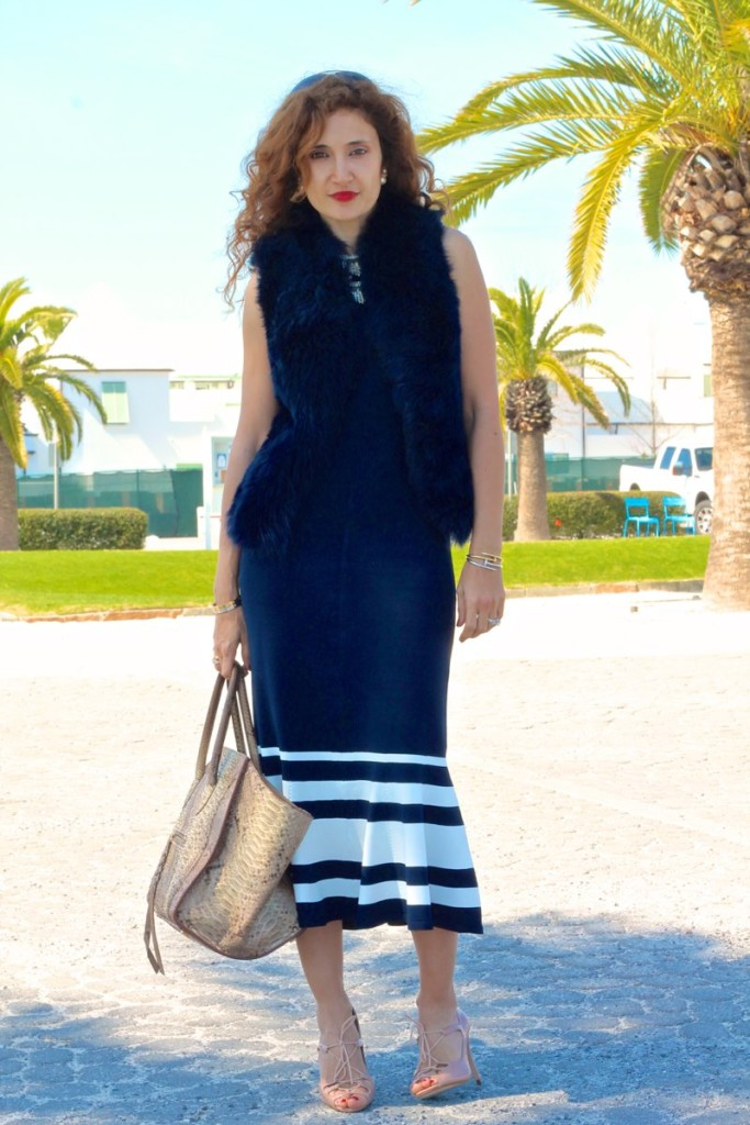 striped maxi dress blue and white outfit nude pumps ootd what to wear to a beach vacation peplum blue shearling vest