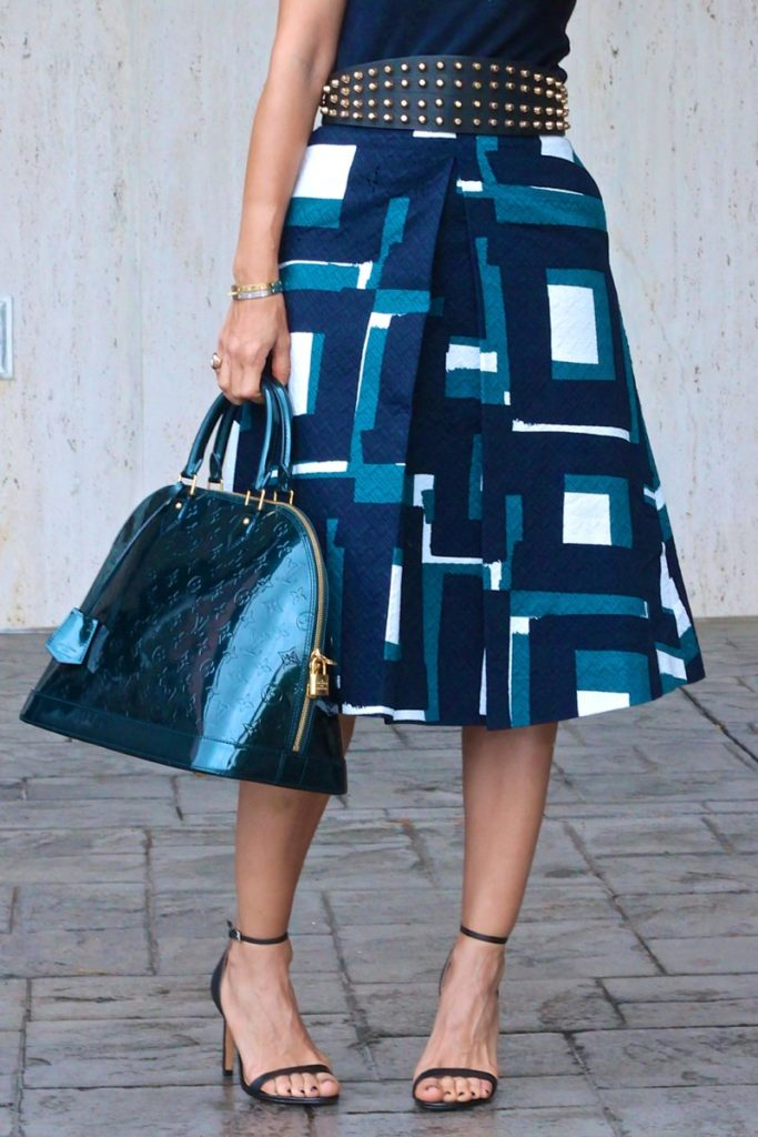midi skirt studded belt teal bag patent bag fit and flare outfit black cuff gold studs houston fashion blogger simple chic design