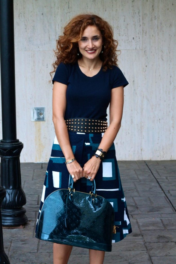 nudist heels luxe for less chic look flirty firly outfit midi skirt how to wear studded belt houston fashion blogger pakistanti fashion blogger south asian blogger curly hair