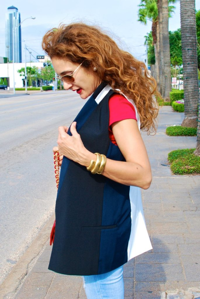 Deba Vest by elevenses chic vest sleeveless blazer casual chic look chanel vintage red 2.55 bag distressed denim givenchy shark tooth sandals houston fashion blogger petite blogger curly hair